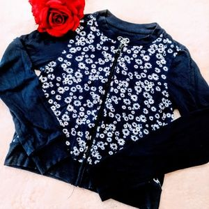 justice zipper top shirt jacket blue floral girl's